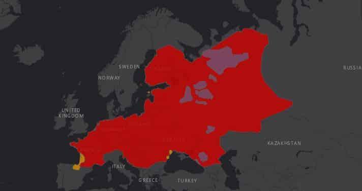 Mapa de localización del vison europeo