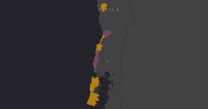 Mapa de rango geográfico del zorro de Darwin