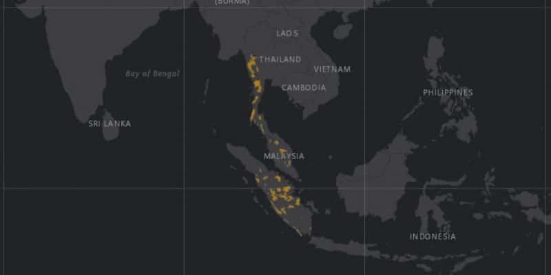 Mapa de rango geográfico para el Tapir Malayo