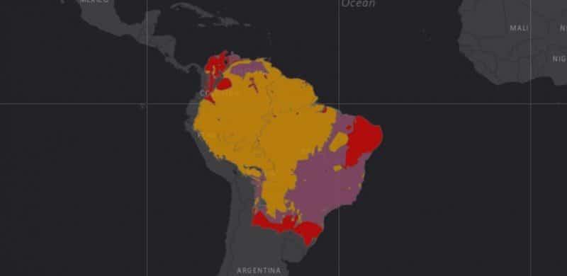 Mapa de rango geográfico para el Tapir Amazónico