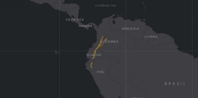 Mapa de rango geográfico para el Tapir de Montaña