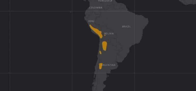 Mapa de rango geográfico para el Gato Andino