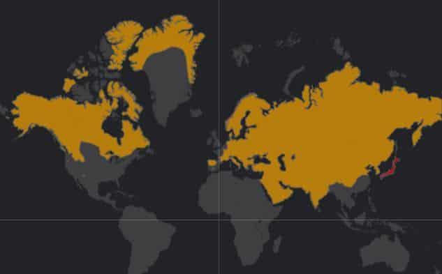 Mapa de rango geográfico para el Lobo Gris