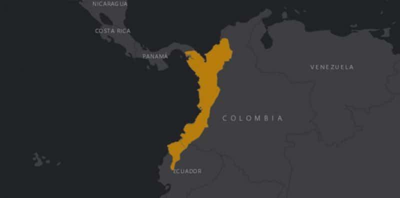 Mapa de rango geográfico para el Mono Araña de Cabeza Negra