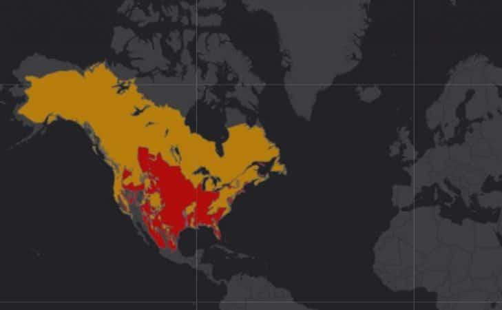 Mapa de rango geográfico para el Oso Negro