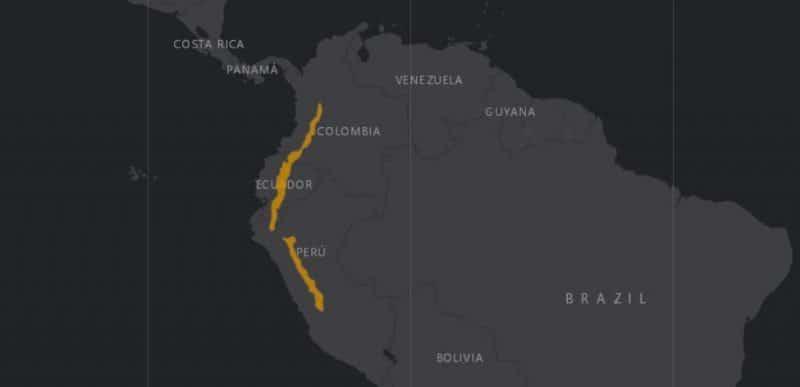 Mapa de rango geográfico para el Pudu