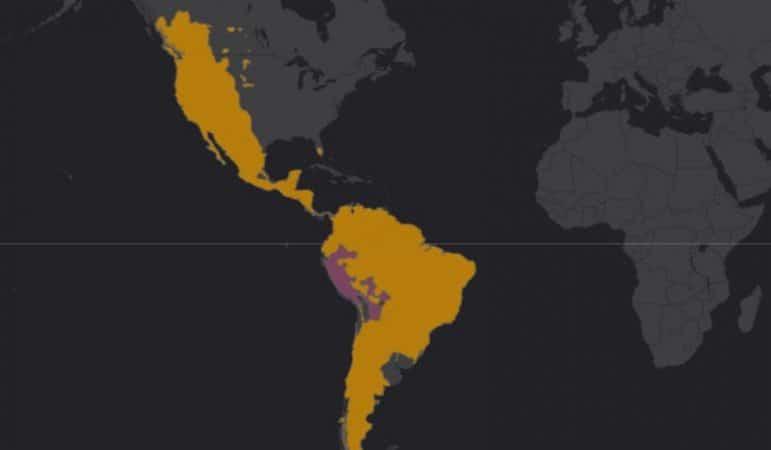 Mapa de rango geográfico para el Puma