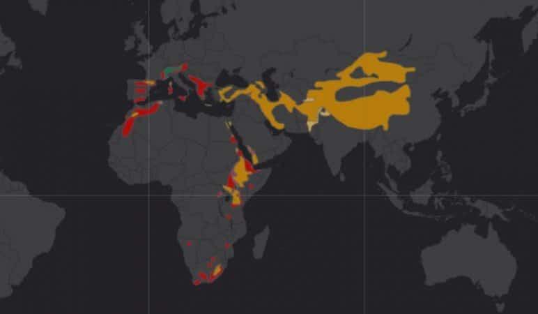 Mapa de rango geográfico para el Quebrantahuesos