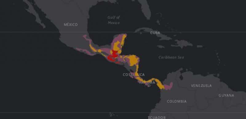 Mapa de rango geográfico para el Tapir Centroamericano