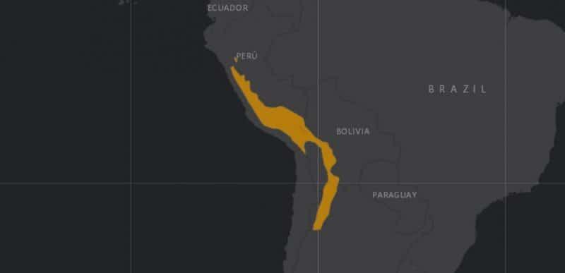 Mapa de rango geográfico para la Taruca