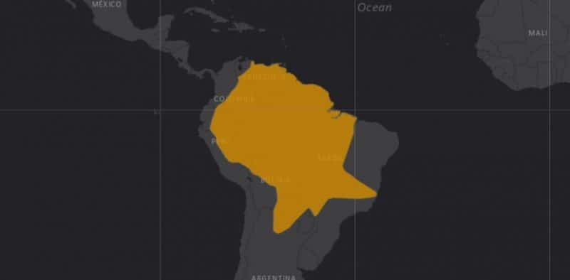 Mapa de rango geográfico para el Tatú Carreta