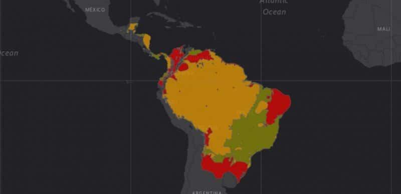 Mapa de rango geográfico para el Chancho de Monte