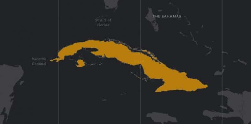 Mapa de rango geográfico para el Cocodrilo Cubano