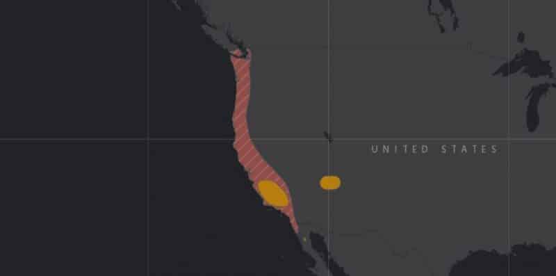 Mapa de rango geográfico para el Cóndor de California