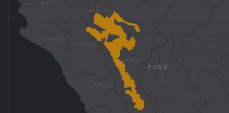 Mapa de rango geográfico para el Mono Choro de Cola Amarilla