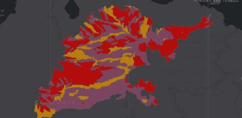 Mapa de rango geográfico para el Cocodrilo del Orinoco