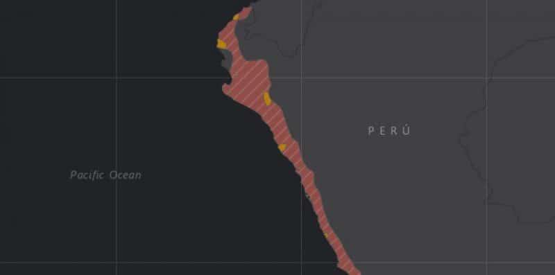 Mapa de rango geográfico para el Cortarramas Peruano