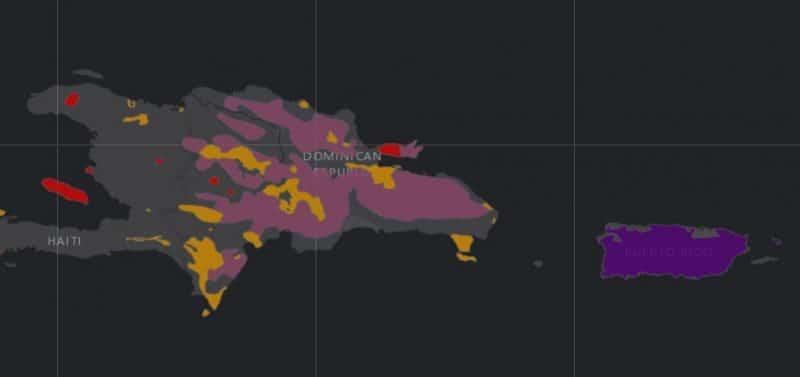 Mapa de rango geográfico para la Cotorra Española