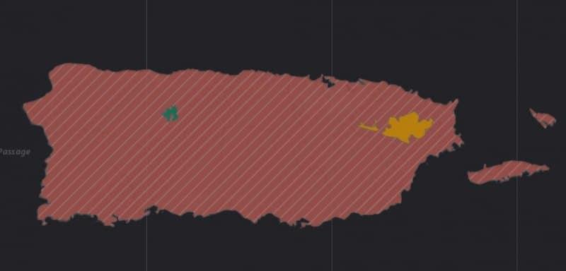 Mapa de rango geográfico para la Cotorra Puertorriqueña