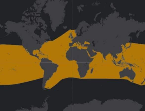 Mapa de rango geográfico para el Delfín Nariz de Botella