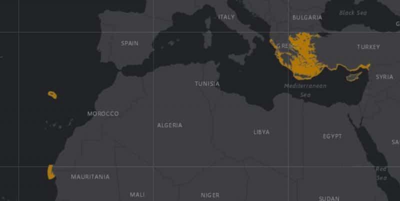 Mapa de rango geográfico para la Foca Monje del Mediterráneo