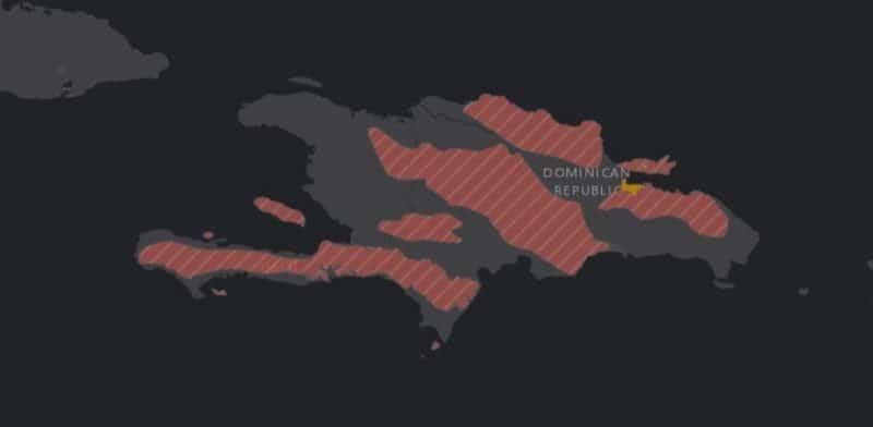 Mapa de rango geográfico para el Gavilán dela Hispaniola