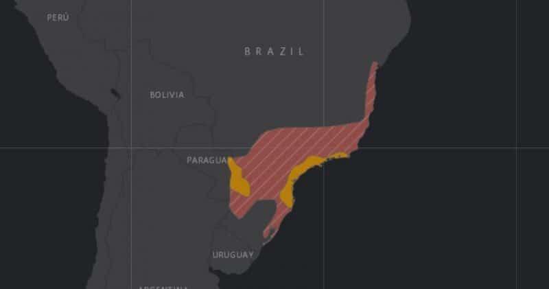 Mapa de rango geográfico para la Jacutinga