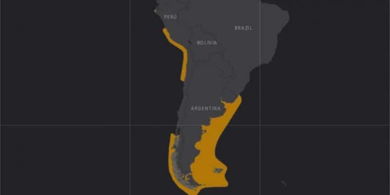 Mapa de rango geográfico para el Lobo Fino Sudamericano