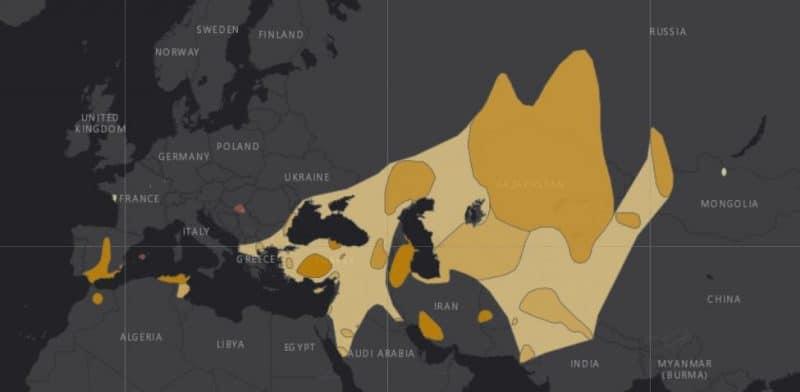 Mapa de rango geográfico para la Malvasía Cabeciblanca