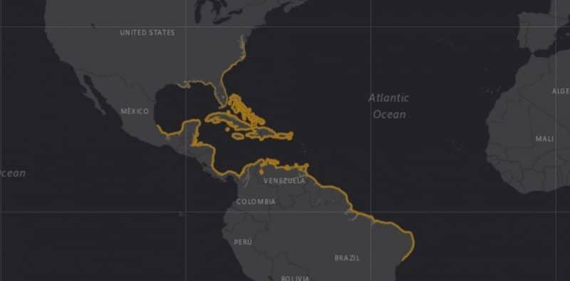 Mapa de rango geográfico para el Manatí