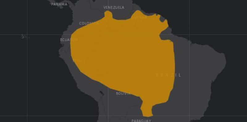 Mapa de rango geográfico para la Nutria Gigante