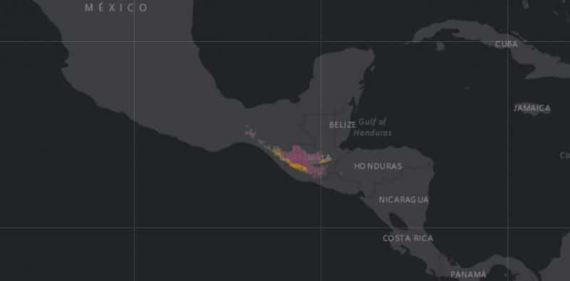 Mapa de rango geográfico para el Pavo de Cacho