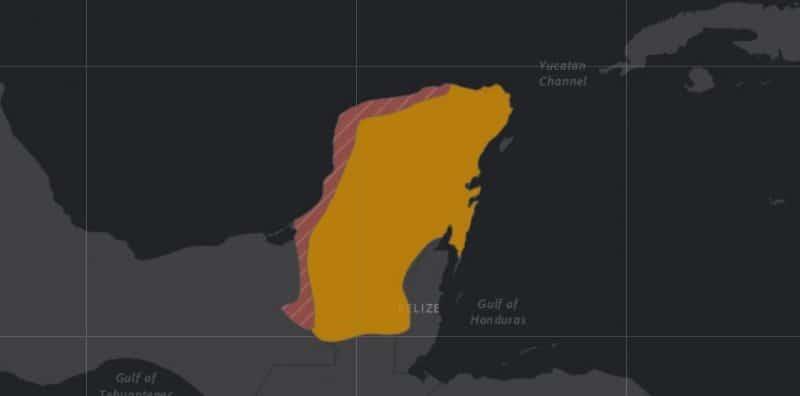 Mapa de rango geográfico para el Pavo Ocelado