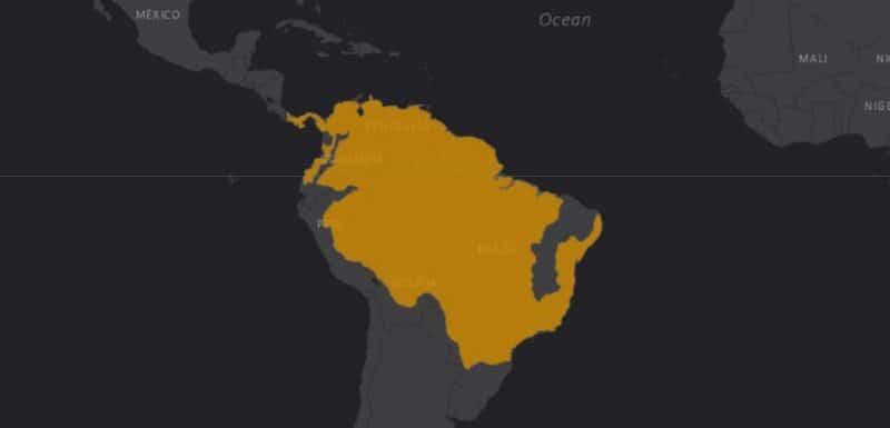 Mapa de rango geográfico para el Perro de Monte