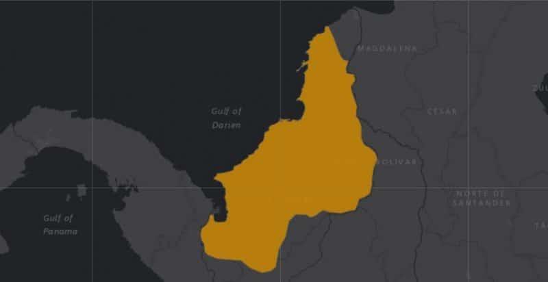 Mapa de rango geográfico para el Tití Cabeciblanco