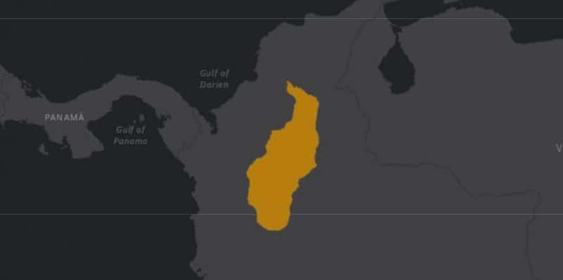 Mapa de rango geográfico para el Tití Gris