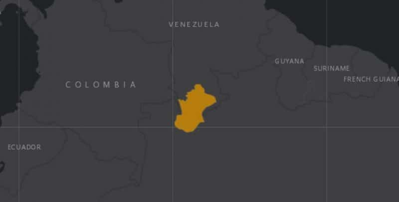 Mapa de rango geográfico para el Uacarí